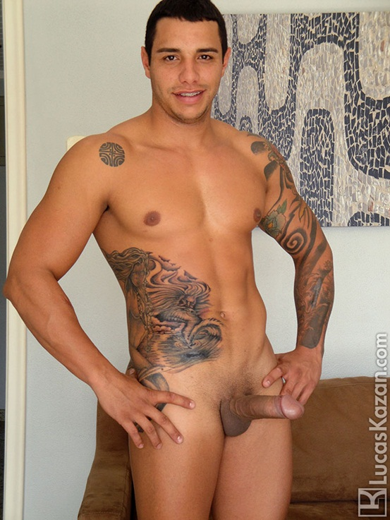 Bodybuilder Strips Naked And Strokes His Big Hard Cock Image