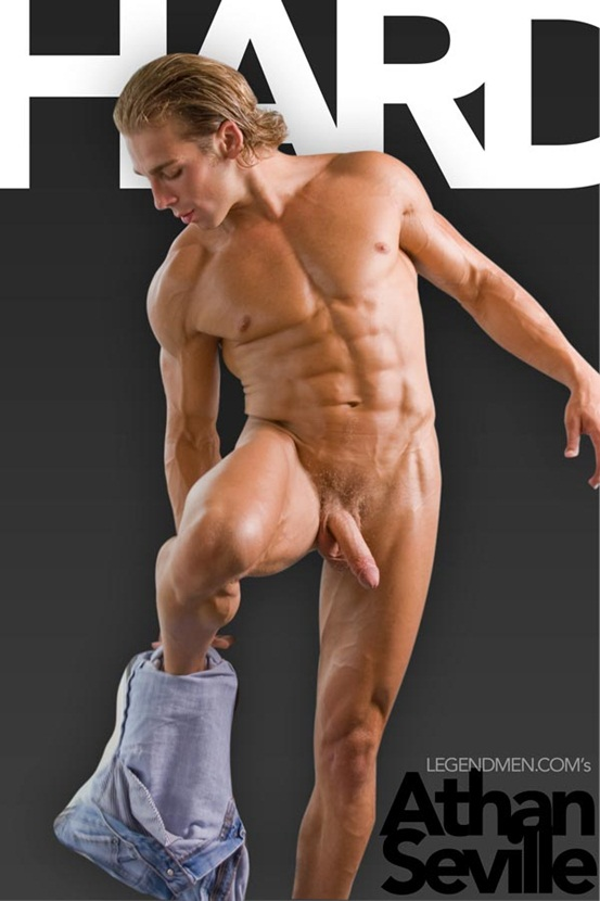 Athan Seville Ripped Muscle Bodybuilder Strips Naked And Strokes His