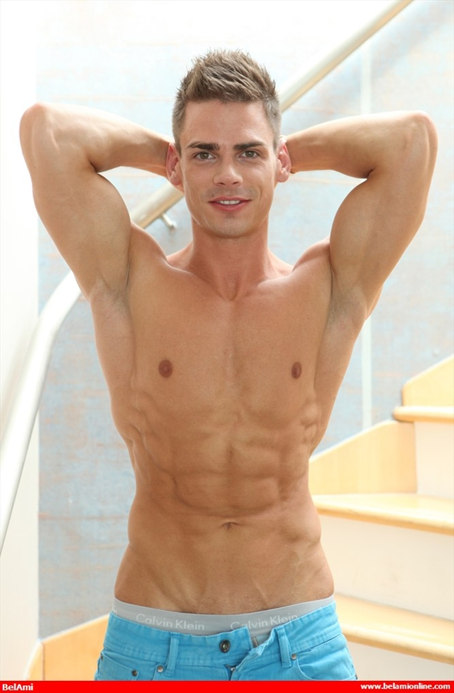 Ripped-muscle-twink-Lorenzo-Gray-naked-jerks-huge-uncut-cock-Belami-02-photo