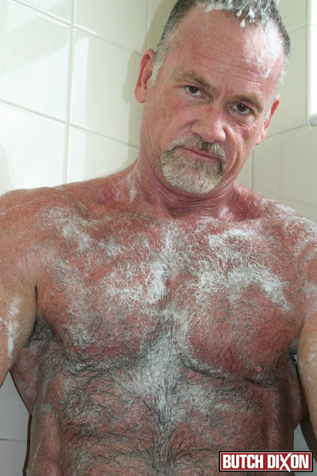 butch dixon silver haired hunk older mature stud mickie collins flexes