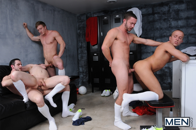 Naked gay men in locker room
