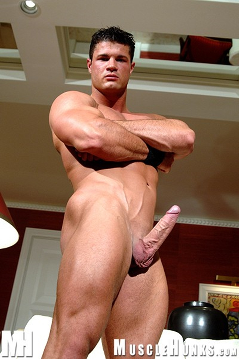 Muscular guy shooting huge loads