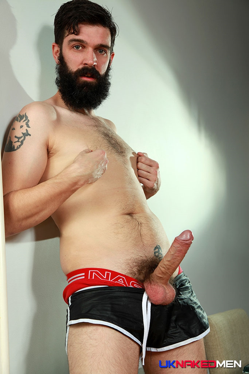 Bearded hairy naked gay men pissing first