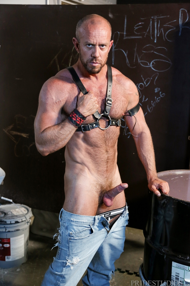 Sexy leather daddy brian bonds fisting guy on swing 10