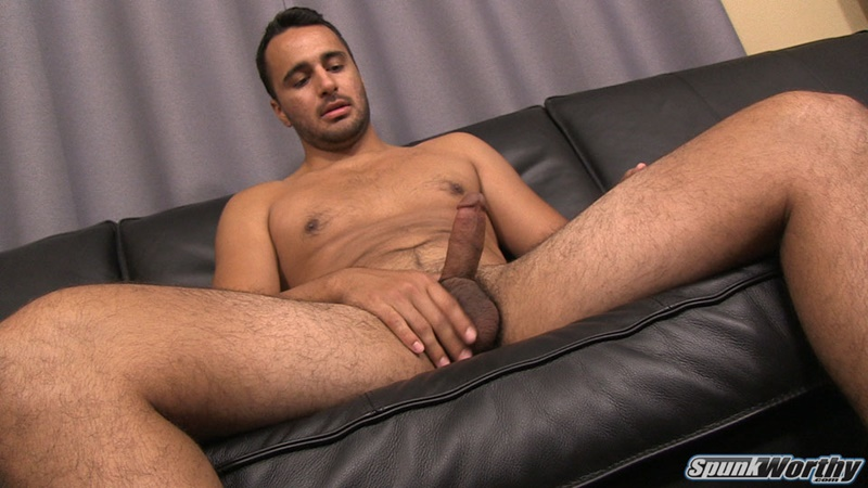 Eddie jerks his big cock and fingers his tight straight ass ...