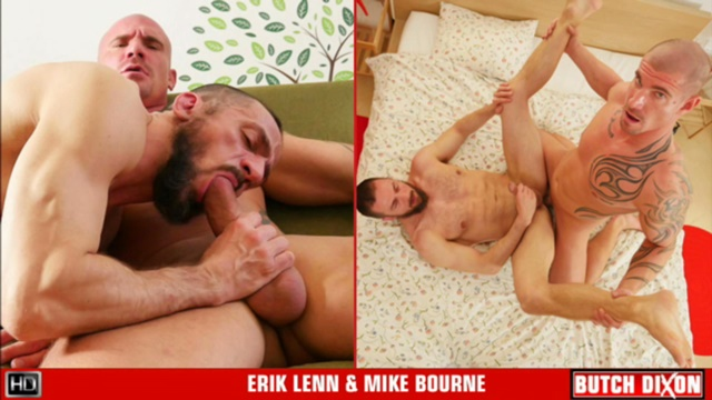 ButchDixon real rough naked men Erik Lenn fuckers beefy Mike Bourne thugs muscular bottom masculine big uncut dick ass hole rimming 001 gay porn tube star gallery video photo - Mike Bourne pushes his rock hard dick into Erik Lenn's aching ass hole