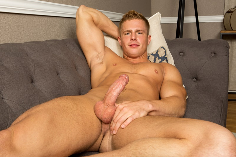 SeanCody young muscle pup Nixon solo jerk off wanking huge cut cock smooth hairless chest blond hair shaved pubes shy cumshot massive 007 gay porn sex gallery pics video photo - Sean Cody Nixon drops a full load in his first solo jerk off
