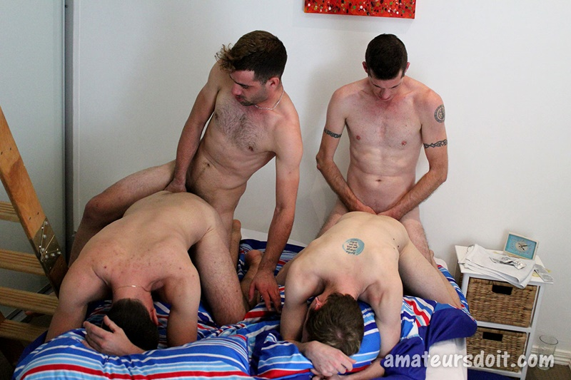 naked men on all fours