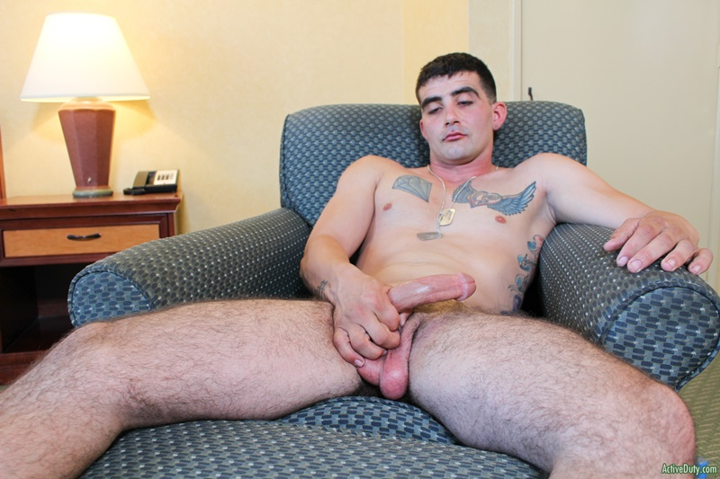 ActiveDuty Sexy young naked military man Dominic Chavez jerks huge dick massive cum load army boy uniform solo big cock jerk off 001 gay porn sex gallery pics video photo - Sexy young military man Dominic Chavez jerks his huge dick to a massive cum load