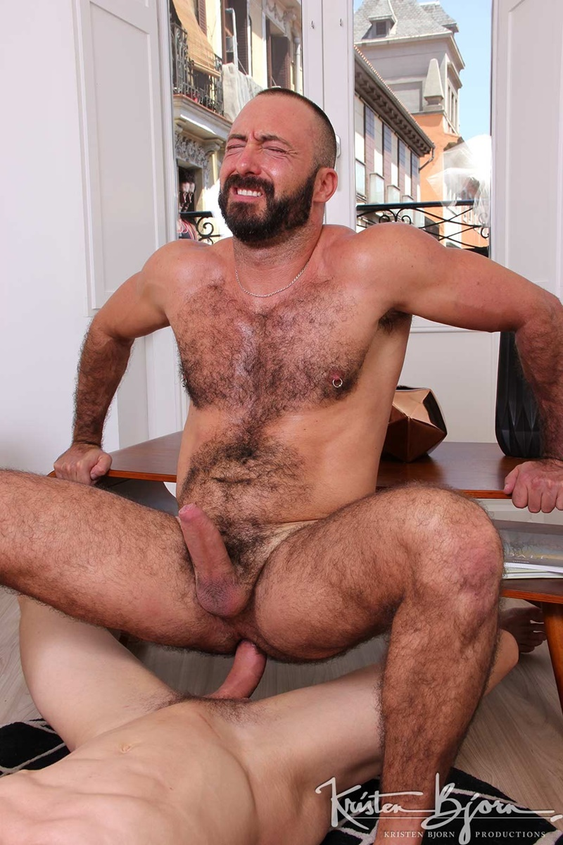 KristenBjorn huge tattoo muscle men Xavi Garcia Ivan Gregory fat big long cock hot hairy raw hole bareback fucking anal rimming 002 gay porn sex gallery pics video photo - Xavi Garcia lay on his back spreads his legs open as Ivan Gregory plunges his fat cock deep inside of that hot hairy raw hole