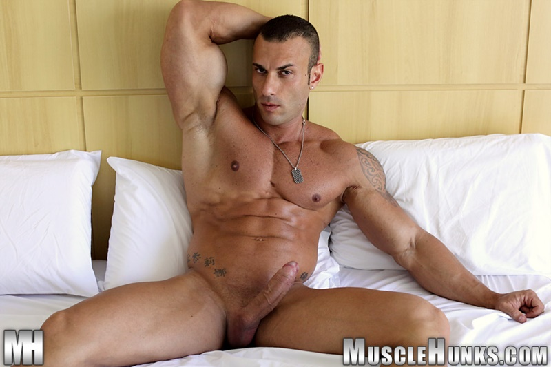 MuscleHunks hot nude Italian dude big muscle bodybuilder Gianluigi Volti strips naked jerks his huge muscle cock bubble butt ass 001 gay porn sex gallery pics video photo - Sicilian big muscle bodybuilder Gianluigi Volti strips naked and jerks his huge muscle cock