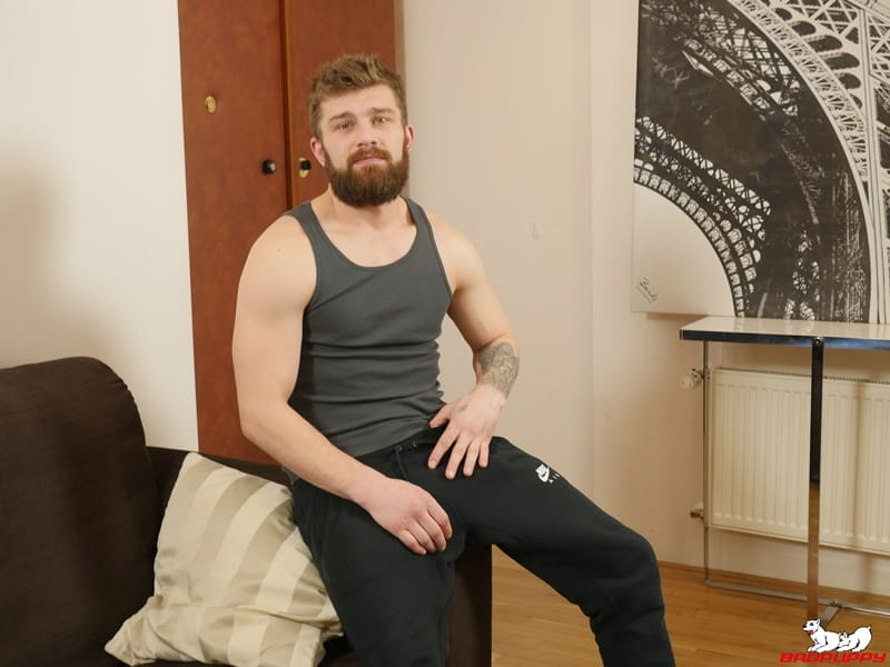 BadPuppy gay porn hot bearded muscle stud big uncut cock foreskin sex pics Nikol Monak tight undies jerking 002 gallery video photo - Hot bearded muscle stud Nikol Monak strips out of his tight undies and jerks his huge uncut dick