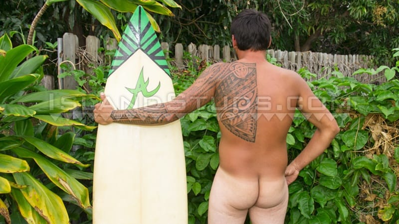 IslandStuds gay porn tattoo beard facial hair small dick sex pics Kimo bubble butt asshole 003 gallery video photo - Kimo spreads his sweet smooth virgin surfer butt WIDE OPEN while skinny dipping underwater in the pool