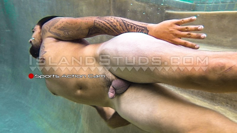 IslandStuds gay porn tattoo beard facial hair small dick sex pics Kimo bubble butt asshole 010 gallery video photo - Kimo spreads his sweet smooth virgin surfer butt WIDE OPEN while skinny dipping underwater in the pool