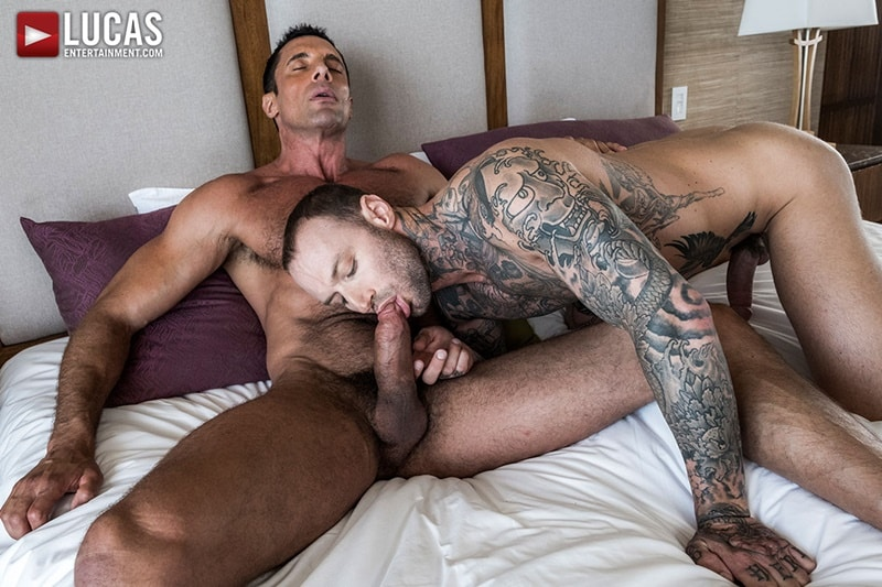 LucasEntertainment gay porn Tattoo stud huge cock fucks sex pics Dylan James muscle daddy Nick Capra 001 gallery video photo - Tattooed stud Dylan James' huge cock fucks big muscle daddy Nick Capra's tight asshole