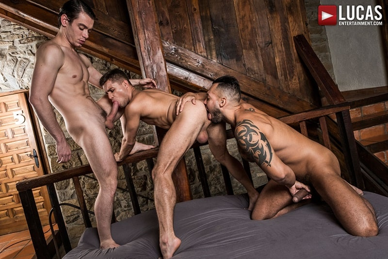LucasEntertainment gay porn tattoo big muscle dudes sucking cock Viktor Rom Klim Gromov Jon Bae 001 gallery video photo - Viktor Rom spit roasts bareback fucking both naked muscle men Klim Gromov Jon Bae