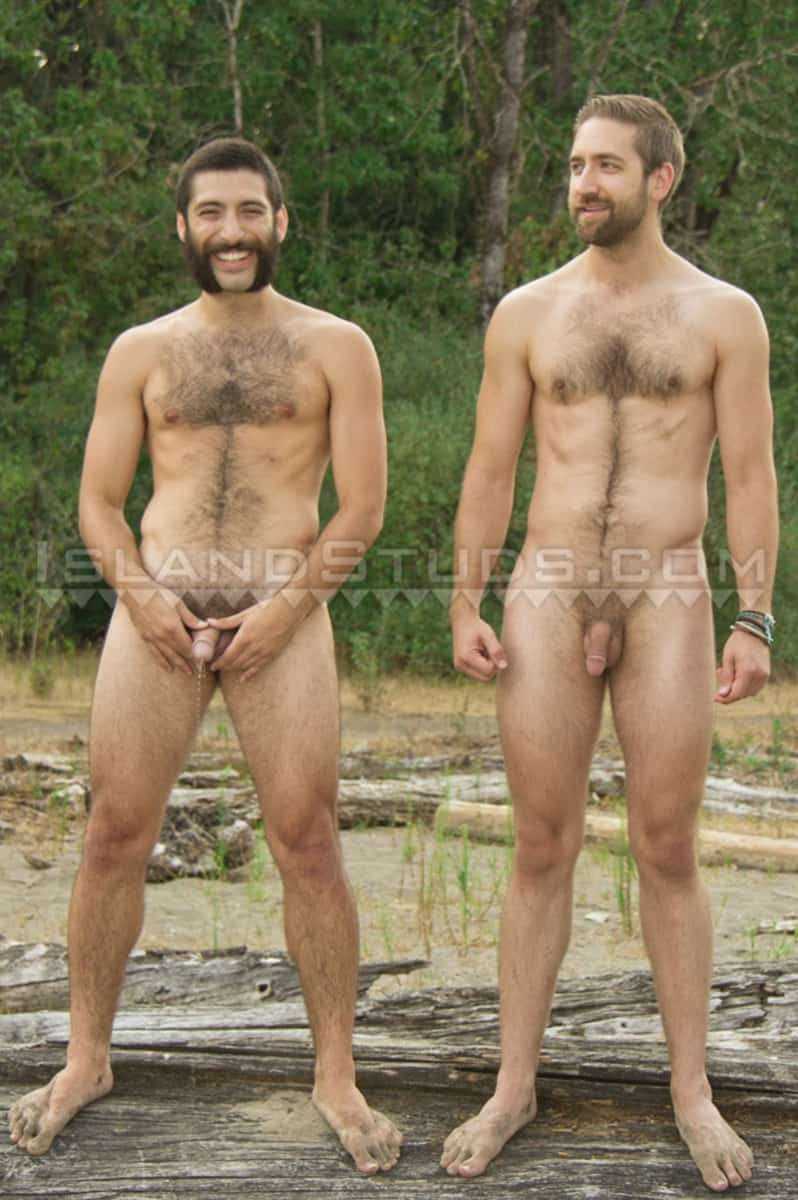 IslandStuds Beard hairy chest outdoor gay sex Oregon jocks uncut Andre furry cock Mark mutual jerk off 008 gallery video photo - Bearded totally hairy outdoor Oregon jocks uncut Andre and furry cock Mark in hot duo action
