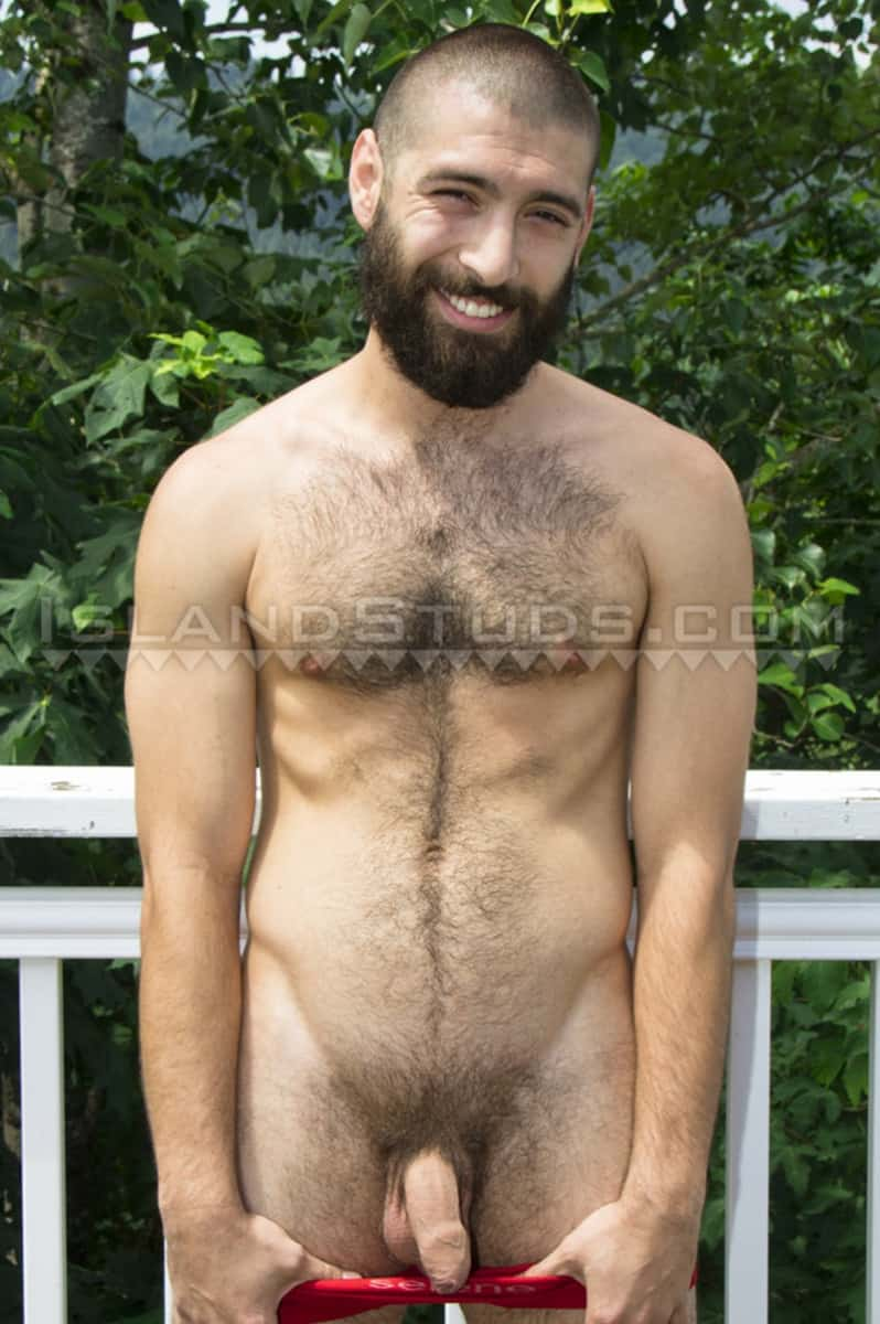 IslandStuds Island Studs Andre hairy bearded muscle hunk solo piss outdoor jerk off big uncut cock 003 gay porn sex gallery pics - Bearded Andre strips naked outdoors and jerks his fat uncut cock playing with his foreskin