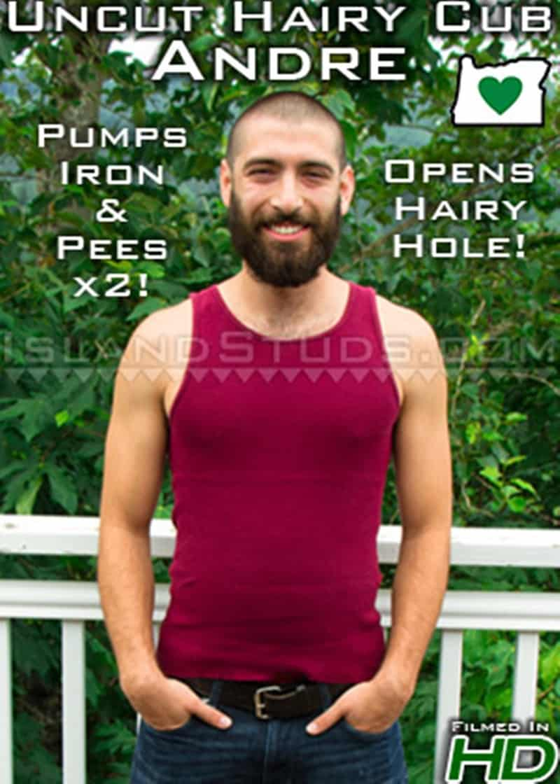 IslandStuds Island Studs Andre hairy bearded muscle hunk solo piss outdoor jerk off big uncut cock 016 gay porn sex gallery pics - Bearded Andre strips naked outdoors and jerks his fat uncut cock playing with his foreskin