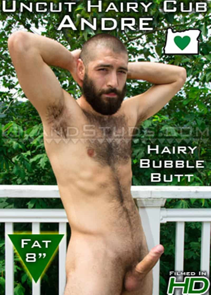 IslandStuds Island Studs Andre hairy bearded muscle hunk solo piss outdoor jerk off big uncut cock 018 gay porn sex gallery pics - Bearded Andre strips naked outdoors and jerks his fat uncut cock playing with his foreskin