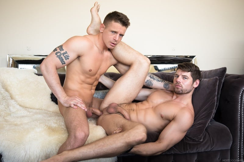 NextDoorStudios men tattoos Connor Halsted ass fucking Gunner big cock cocksucker anal rimming hairy chest beard 014 gay porn sex gallery pics - Connor Halsted bounces up and down on Gunner's big cock like a man possessed