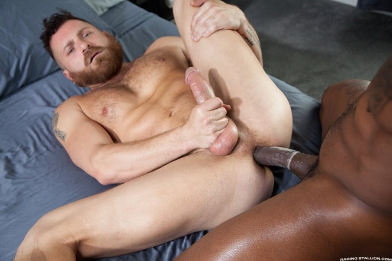 RagingStallion Riley Mitchell Max Konnor big black monster cock anal rimming bubble butt ass fucking 012 gallery video photo - Riley Mitchell get on his knees and sucks down hard on Max Konnor's monster cock