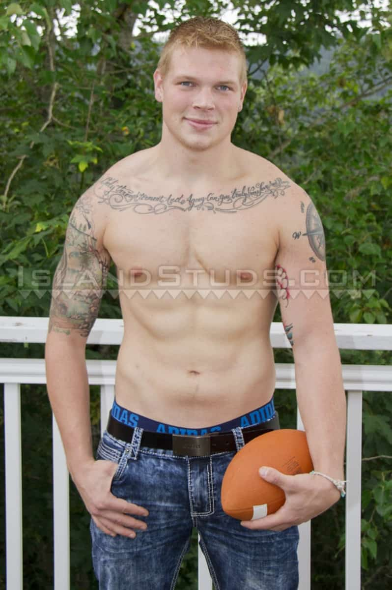 IslandStuds Cute 21 year old College Jock Parker nude soccer Football Player jerks huge 9 inch cock 001 gay porn pictures gallery - Cute 21 year old College Jock Parker is every students fantasy Football Player as he jerks his 9 inch cock