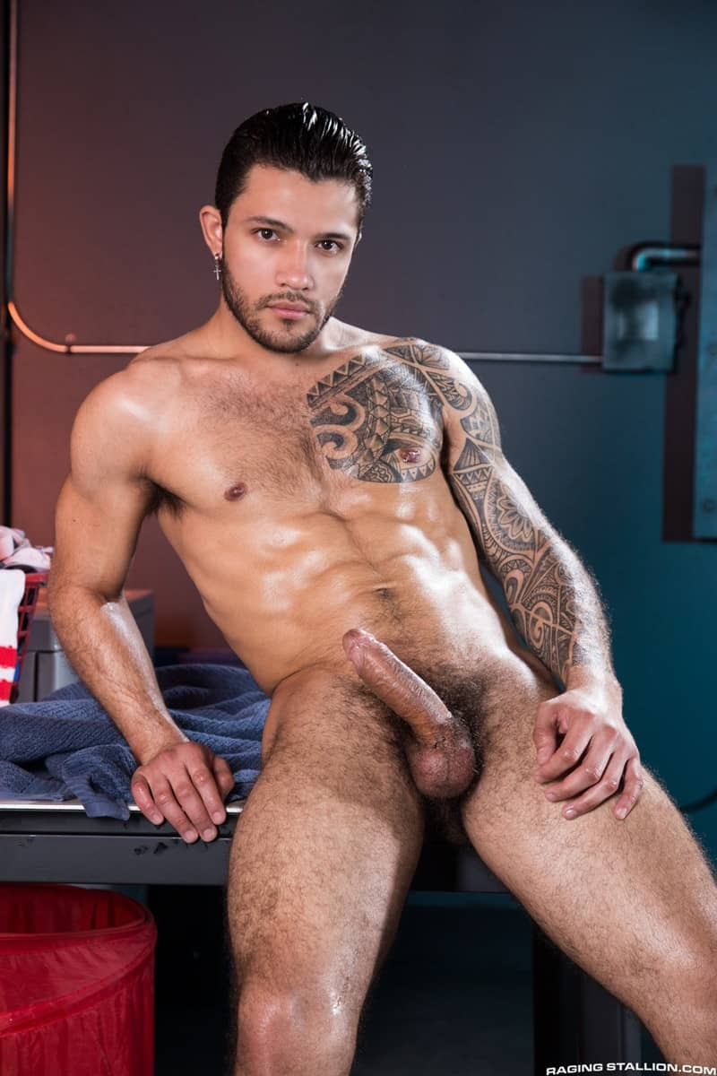 RagingStallion sneaker sex big muscle dudes Carlos Lindo cocksucker Ryan Cruz hairy dick blowjob 005 gay porn pictures gallery - Carlos Lindo sinks straight to his knees and gets Ryan Cruz's hairy dick in his mouth