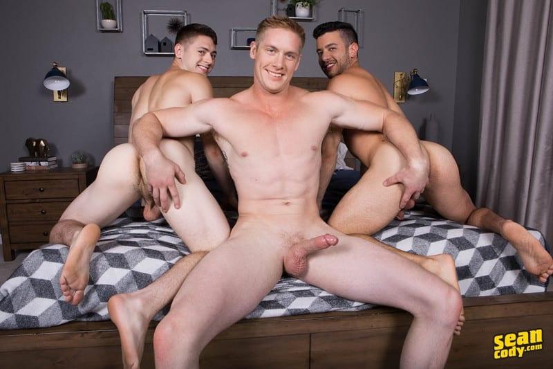 Gay big cock threesome