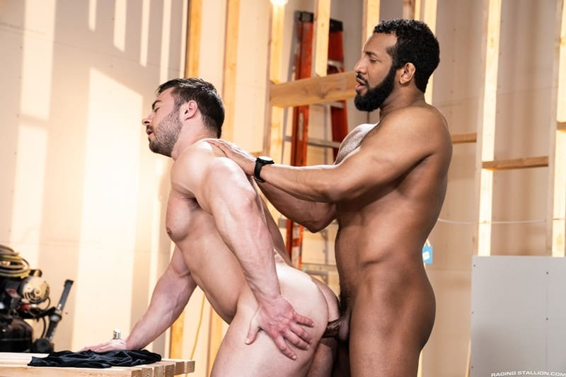 Men for Men Blog Gay-Porn-Pics-011-Derek-Bolt-Jay-Landford-naked-muscle-men-huge-cock-fucking-hot-asshole-RagingStallion Derek Bolt moans with each thrust from Jay Landford's huge cock pummeling his hot asshole Raging Stallion
