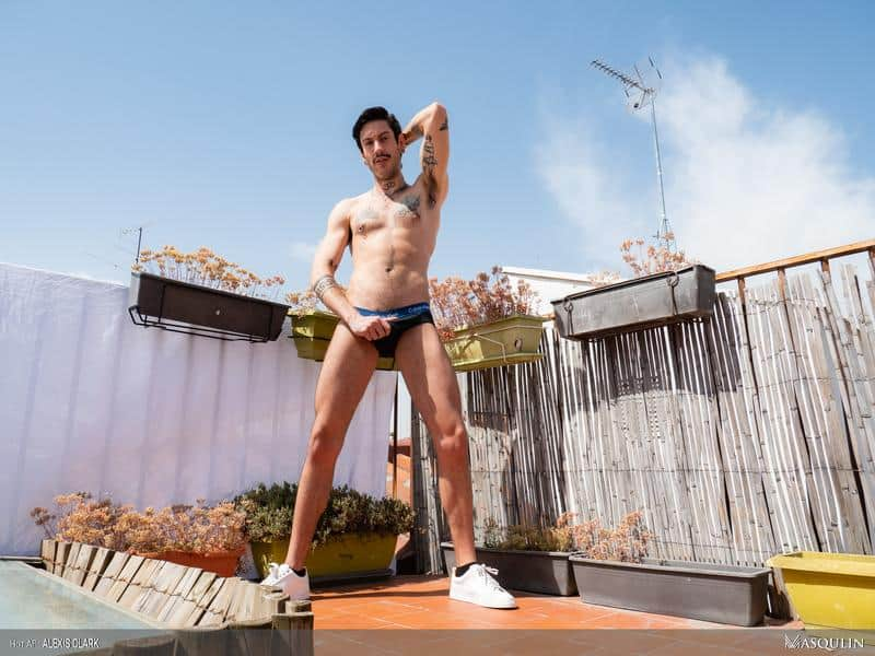 Sexy young hairy dude Alexis Clark hot asshole raw fucked a huge uncut cock up on the roof 6 gay porn pics - Sexy young hairy dude Alexis Clark hot asshole raw fucked by a huge uncut cock up on the roof
