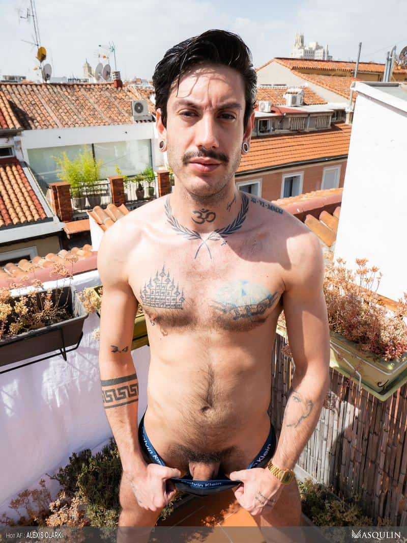Sexy young hairy dude Alexis Clark hot asshole raw fucked a huge uncut cock up on the roof 7 gay porn pics - Sexy young hairy dude Alexis Clark hot asshole raw fucked by a huge uncut cock up on the roof